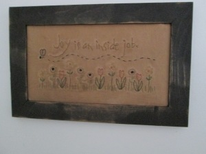 "9""x14"" framed stitchery  Price: $26.00"