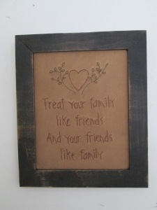 "12 1/2"" x 10 1/2"" framed stitchery  Price:  $26.00"