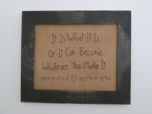 "10""x12"" framed stitchery  Price: $26.00"