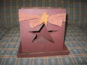 "Napkin Holder w/star cut-out 7""w x 7 1/2""d $16.00"