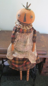 """Toad"" is 27"" tall and is weighted to sit anywhere. Her apron is grubby cheesecloth and is attached with dirty string. $52.00"