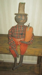 "At 36"" tall (to the top of his hat), Peter is heavily weighted to sit anywhere.  His pumpkin is securely stitched in his arm.  $72.00"