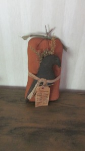 "Great fall decor to last through Thanksgiving. Crow is attached to pumpkin with grungy cheescloth and has a grubby hand-lettered tag ""Harvest Thyme"". $24.00"