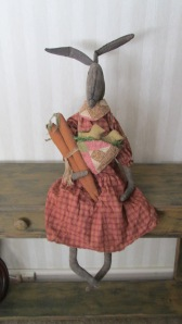 """Old Hare is 36"""" tall and weighted to sit anywhere. Lots of detail with her carrots and chicks! $76.00"""